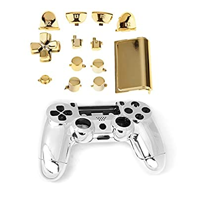 MagiDeal Chrome Full Replacement Controller Hydro Dipped Shell Mod Kit for PS4 Gold by MagiDeal