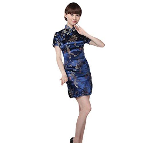 Haodasi Frauen Traditionell Chinesisch Drachen Phönix Gedruckt Brokat Qipao Abendkleid Kurzarm Cheongsam Navy Blau