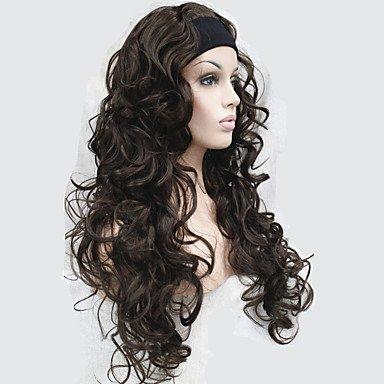 e 3/4 Perücken mit Stirnband langen lockigen schwarzen Kunsthaar Perücke , 130a (Schwarzen Lockigen Perücke)