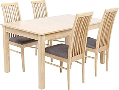 Brooklyn 4-6 Seat Extending Dining Table with 4 Chairs - Beech Effect