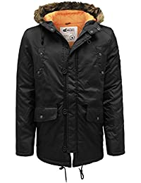 D-Struct Men's Faux Fur Hood Quilted Padded Lined Parka Winter Jacket Coat