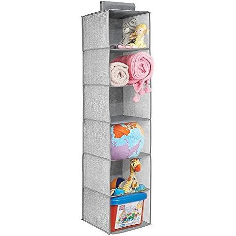 mDesign - Cambiador / Organizador de gabinete del bebé; para ropa, toallas, sábanas, juguetes, pañales - 6estantes - Gris