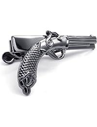 KONOV Joyería Clip de corbata de hombre, Tie Clip, Pasador, Alfiler, Pistola Revólver, Aleación, Color negro (con bolsa de regalo)