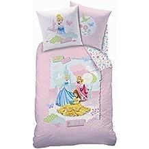 CTI 041817 - Juego de cama (funda de edredón y una funda de almohada, 30 x 21 x 4 cm), diseño de princesas Disney, algodón, color rosa