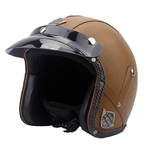 VOSS Motorrad Vintage Helm 4 Jahreszeiten Persönlichkeit Retro Half Helme Motorrad Jet Helme Leder Helm Männer Und Frauen Open-Face Helme Sommer Helme Für Harley,Brown-M(57CM-58CM)