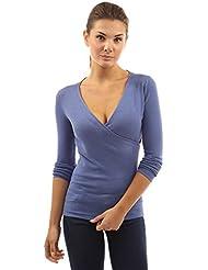 PattyBoutik Mujer v cuello del suéter de imitación del abrigo