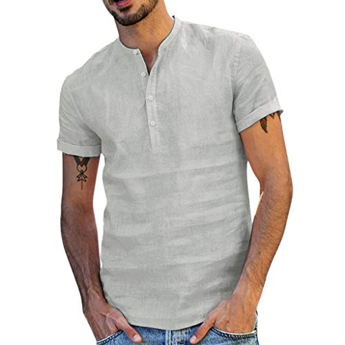 af8b2f2c6 Mosstars Men Retro T Shirts, Summer Male Sale Baggy Cotton Linen SOID Color  Tee Tops Loose Oversize V Neck Button Short Sleeve Pullover Blouse (Gray,  ...