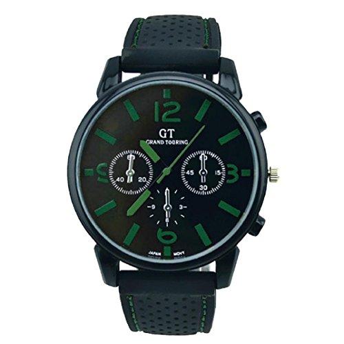 Hansee Männer Mode Silikon Armband Sport Cool Quarz Stunden Handgelenk Analoge Uhr runde Gehäuse Symbol des fälligen Edelstahl Sport Cool Schwarz Klassischer Einfache...
