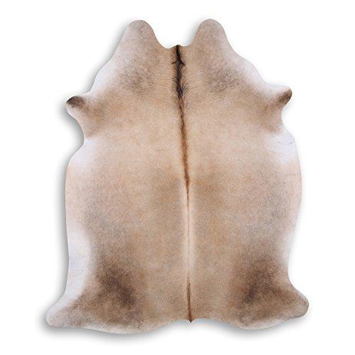 Premium Kuhfell-Teppich - L204 x B172 cm - creme sand braun - einmaliges Naturprodukt aus Südamerika