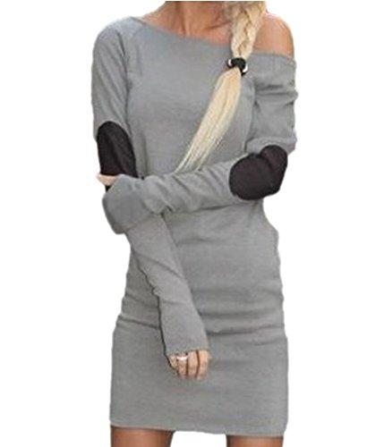 Damen Casual Long Shirt mit Ellenbogen Patches Strickkleider Sommerkleider Blusenkleider Grau