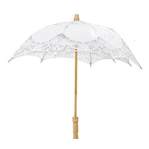 Merssavo Parasol de mariee dentelle Blanc pour le mariage decoration avec poigne en bois 44cm