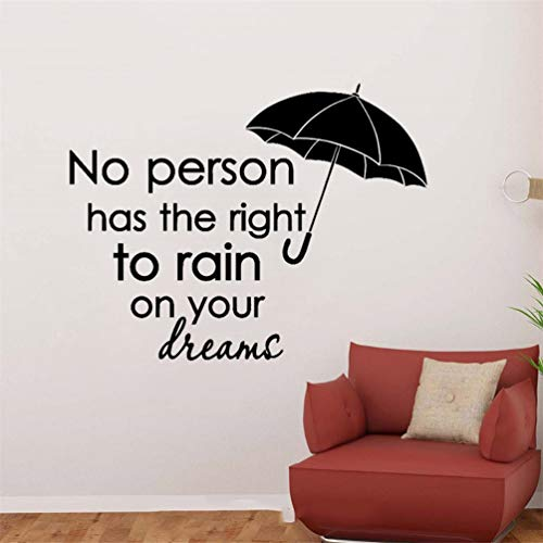 pegatina de pared 3d Quotes Umbrella Wall Rain On Your Dreams Decals Sticker for living room nursery kids bedroom
