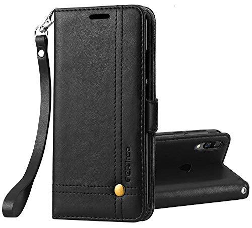 Ferilinso capa xiaomi redmi note xnumx pro, elegante capa de couro retro caso com titular slot para cartão de cartão de crédito magnético fecho caso para flip (preto)