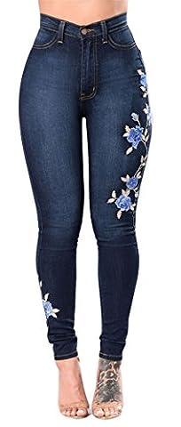 Femme Fille Hauts Hauts Waid Brodé Ripped Affligés Troubles Jeans Skinny Denim Jeans Pantalons