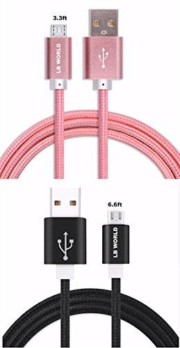 Micro-USB-Kabel LB Welt (2 Pack 3.3ft und 6.6ft) Nylon Geflochtene Android-Ladegerät Kabel, Tangle-Free Ultra langlebiger Schnellladekabel mit vergoldeten Anschlüssen für Android, Samsung, HTC, Nokia, Sony und mehr mit Sorge kostenloser Garantie ( Black & Gold) (black/rose gold) Galaxy S4 Fällen Mit Akku-pack