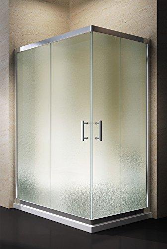 Yellowshop - Box Cabina Doccia Bagno Rettangolare, Dimensioni: 80X100 cm, Cristallo 6mm : Puntinato Opaco
