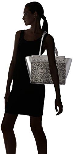 Cavalli Damen Leoglam Tote, 16 x 27 x 32 cm Mehrfarbig (Dark Grey/Gun Metal)