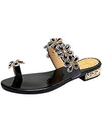 fb1661e65 LuckyGirls Sandalias Mujer Verano Zapatos Rhinestones de Floral Partido  Chancleta Bohemia Estilo Moda Chanclas Vacaciones Casual Playa…