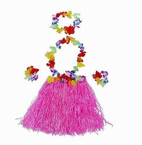 HIlai 5 PCs Hawaii Tropical Hula Grass Dance Shirt Bra Blume Armbänder Stirnband Halskette Set