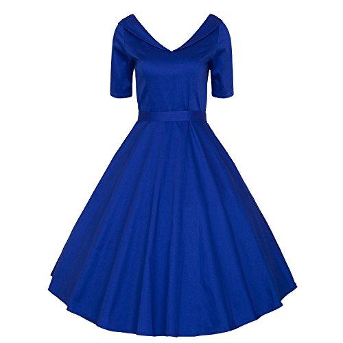 LUOUSE 40s 50s 60s Vintage V-Ausschnitt Schwingen Rockabilly Pinup Ballkleid Partei Kleid,Blue,M