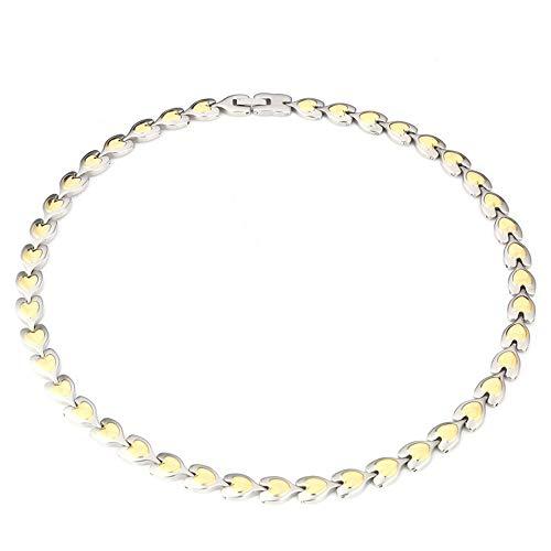 LCDY LCDYPfirsich-Herz Edelstahl Halskette glänzend Kupfer überzogene magnetische Element Gesundheit Halskette romantische Liebhaber Geschenk Schmuck (Kupfer Magnetische Halskette)