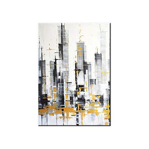 """HIMAmonkey 100% Pintura Al Óleo Pintado A Mano Cuadros Abstractos Modernos Ciudad Arte De Pared sobre Lienzo Estirada Y Enmarcado Decoración Listo para Colgar,20""""*40""""(50 * 100cm)"""