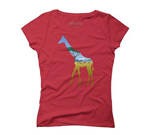 Giraffe Landscape Women's Graphic T-Shirt - Design By Humans Red