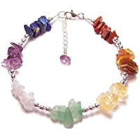 Sterling silver chakra gemstone chip bracelet Amethyst, Lapis Lazuli and Blue Lace Agate gem stones