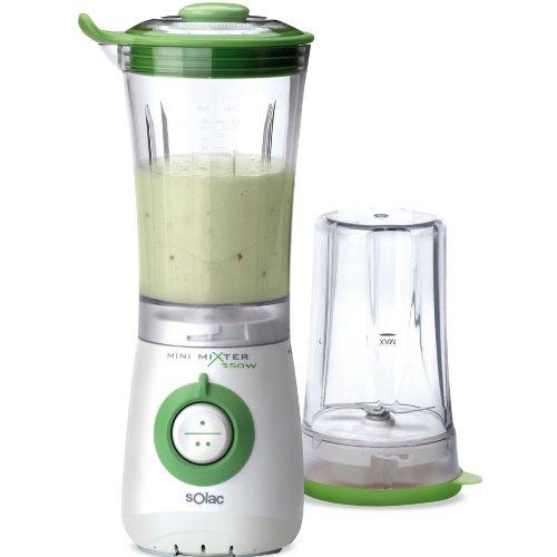 Solac Mini Mixer 350W 2in1, Plástico, Plástico, Blanco, Verde, 220 - Licuadora
