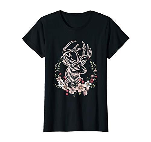 Damen Hirschkopf mit Geweih und Blumen Oktoberfest T-Shirt