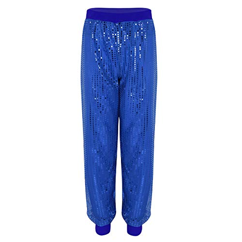 High Wie Party Kostüm - Agoky Damen Baggy Hip Hop Rock Hose High Waist Pants Tanz Cargo Jogger Sporthose Party Kostüm mit Glitzer Shimmer Blau S/M(Taille 78-92cm)