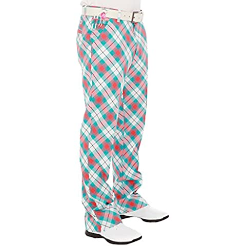 Royal & Awesome Well Plaid - Pantaloni ida golf in stile Funky, tessuto effetto Tartan, Blu (blu), 34W x 32L