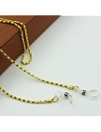 Cadena para gafas con cuentas y cordón, 1 unidad, color dorado