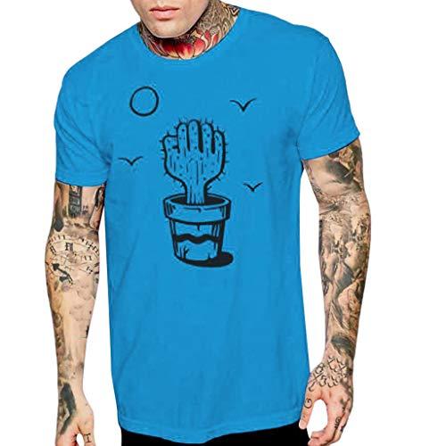 """Tyoby Herren T-Shirt Kurzarm Shirt Mit \""""Kaktus\""""Print Und Rundhalsausschnitt Mode Slim Fit T-Shirt Wunderbare (Blau,XL)"""