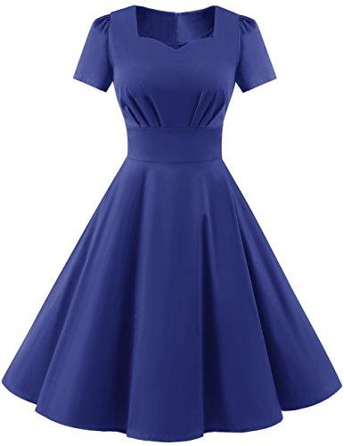 Dresstells Damen Vintage 50er Rockabilly Kurzarm Swing Kleider Partykleid Royalblue L