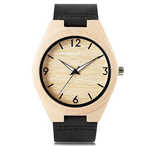 FANSWD Hölzerne Uhr Armreif Armbanduhr Geschenk Männer Natur Sport Lederband Kreative Uhren Cool Bamboo