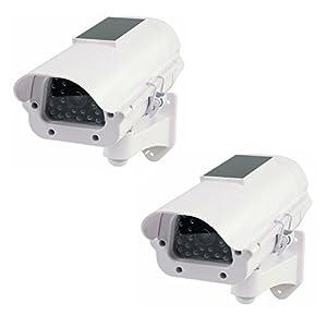 2 Stück Solar Dummy Kameraattrappe IP44 mit blinkender LED Außen / Innen Wandmontage