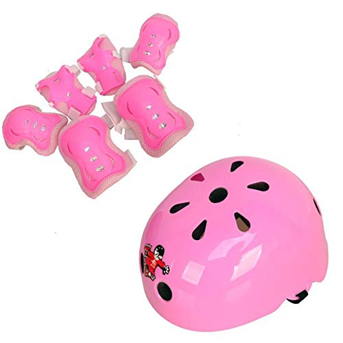 YWLG 7 Stücke Fahrrad Helme Nette Form Ultraleicht Kinder Roller Skating Protector Helm Snowboard Helm Sicherheit Reiten Extreme Sport,Pink-M52-57cm.