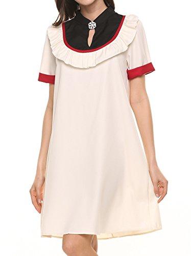 ACEVOG Damen Sommer Kleider A Linie Kurzarm Kleider Rüschen Minikleid Kontrastfarbe Patchworkkleid Partykleid Abendkleid mit Strass Weiß