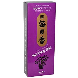 Nippon Kodo Morning Star, Musc Encens, 200 Sticks & Support 1.3 x 2.3 x 6 inches
