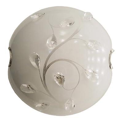 Globo Deckenleuchte nickel-matt, opal mit Muster,Kristalle klar, D: 250, H: 85, exklusiv 1 x E27 40W 230 V 40404-1 von GLOBO auf Lampenhans.de