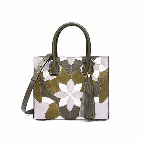Handtaschen Mode Leder Handtaschen Bestickt Tote,Green (Bestickt Handtasche Leder)