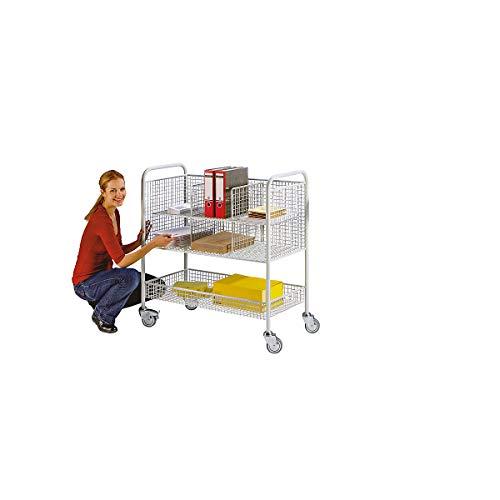 EUROKRAFT Büro- und Postwagen - Tragfähigkeit 150 kg, 3 Etagen - LxBxH 1055 x 500 x 1100 mm, lichtgrau - Beistellwägen Bürowägen Sortierwägen Transportwägen Wägen