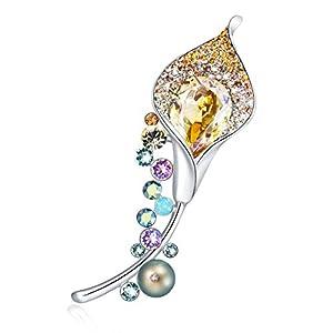 Damen Brosche Kristall Anhanger Halskette mit Swarovski, GAEA H Blume Citrine Kristall Brosche für Kleidung Kristall Brosche Swarovski für Mädchen mit Geschenkbox