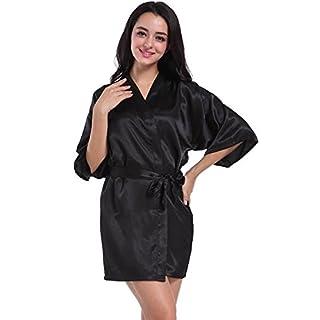Hammia Womens Kimono Robes Satin Nightdress Bridesmaid Robes, M(UK 8-10,EU 38-40), Black