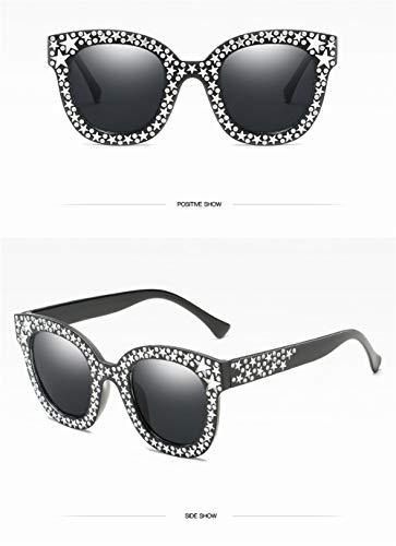 ZJWZ Quadratische Sonnenbrille, Frauen-Imitation Diamant-Sonnenbrille, rote Brille,Brightblackallgray