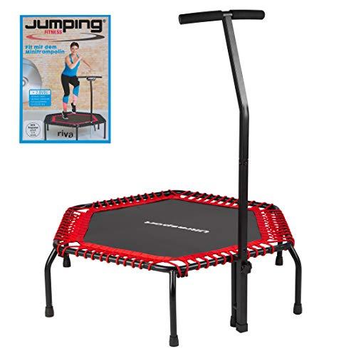 Ultrasport Fitness Trampolin, stabiler Haltegriff und Gummiseilfederung für höchste Sicherheit im Sprung; Ideales Indoor Sport-Gerät für zuhause, Jumping Fitness in: Rot (hart) mit DVD