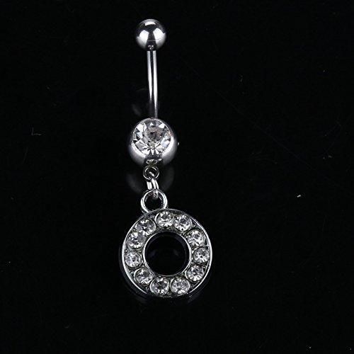 SomStyle (TM) 26 stili A alla cristallo del tasto di pancia argento R pendente della lettera gioiell