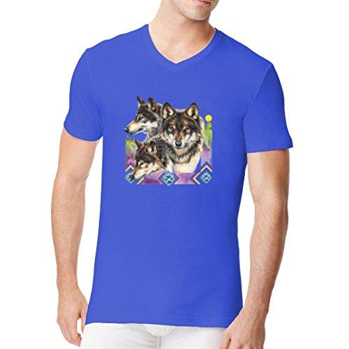 Fun Männer V-Neck Shirt - 3 Wölfe by Im-Shirt Royal