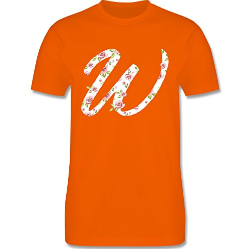 Anfangsbuchstaben - W Rosen - Herren Premium T-Shirt Orange